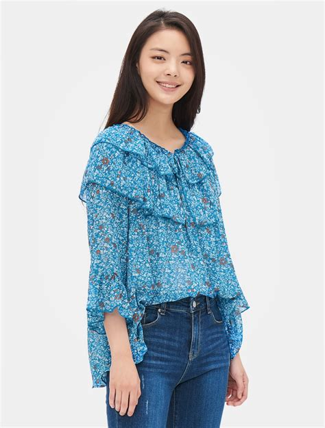 Flower Blouse M 8seconds flower ruffle blouse royal blue 11street malaysia blouse