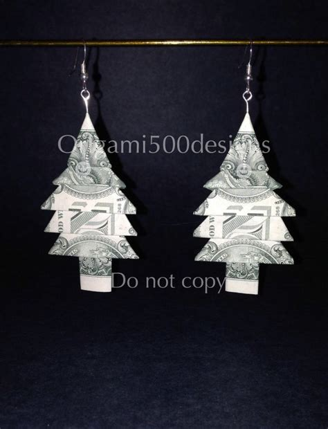 Origami Tree Dollar Bills - money origami earrings many designs to choose from
