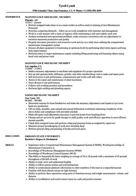 mechanic nd shift resume sles velvet