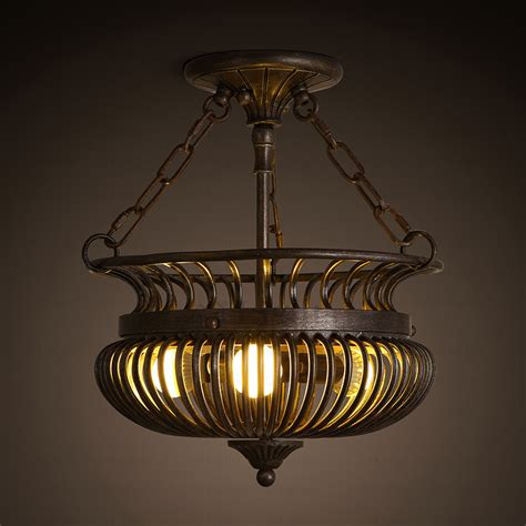 Wrought Iron Ceiling Light Fixtures Three Light Semi Flush Mount Ceiling Wrought Iron Fixture