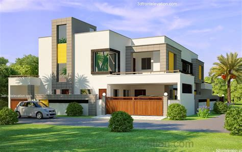 front elevation beautiful modern style house design home 3d front elevation com 1 kanal corner plot 2 house