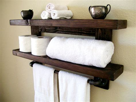 Bathroom Towel Storage Shelves Rustic Wall Shelf Wood Shelf Floating Shelves Towel Rack Bathroom Towel Shelf Storage