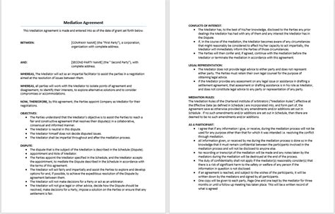 Dispute Agreement Letter Mediation Agreement Template Microsoft Word Templates
