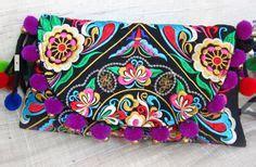Pom Pom Slingbag handmade pom pom tassel bag by the hmong in