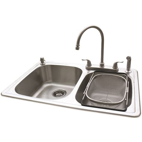 American Standard Stainless Steel Kitchen Sink Shop American Standard Silver Basin Drop In Kitchen Sink At Lowes