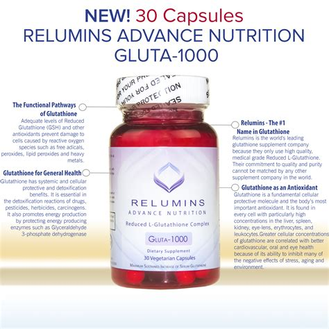 Gluta Glutathione authentic relumins advance nutrition reduced l glutathione