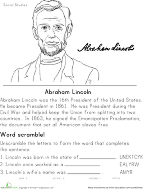 biography of abraham lincoln worksheet answers historical heroes abraham lincoln worksheets social