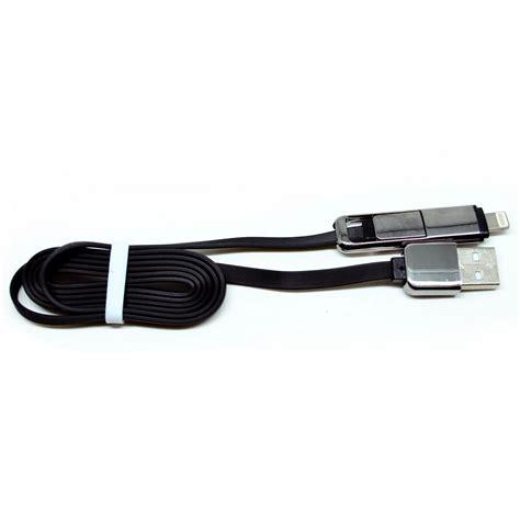 Mirror Plated Combo Duo 2 In 1 Lightning Dan Micro Usb Cable Black mirror plated combo duo 2 in 1 lightning micro usb cable black jakartanotebook