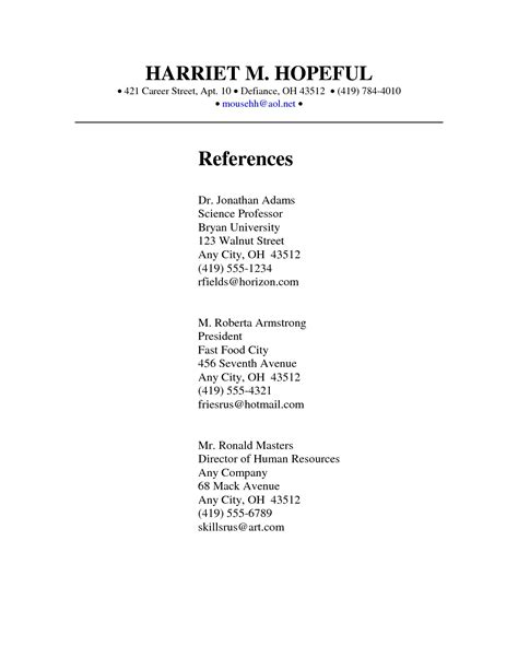 sle of resume reference page reference page template 28 images reference sle for