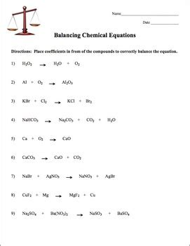 balancing chemical equations by amy brown science tpt