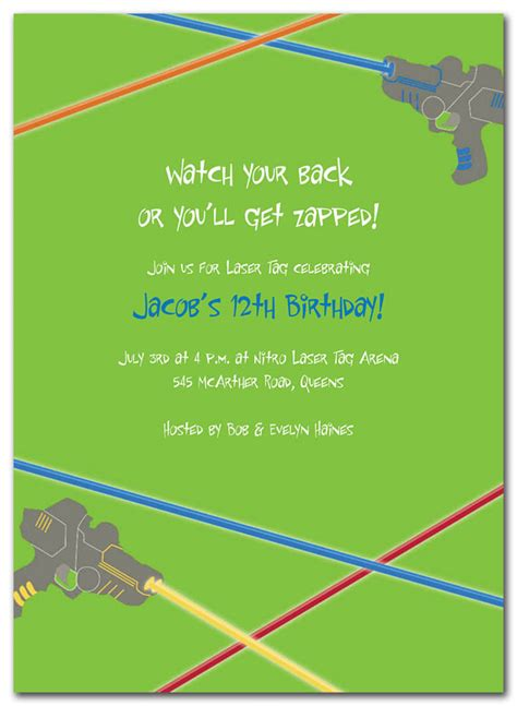 laser tag birthday invitations by invitation consultants
