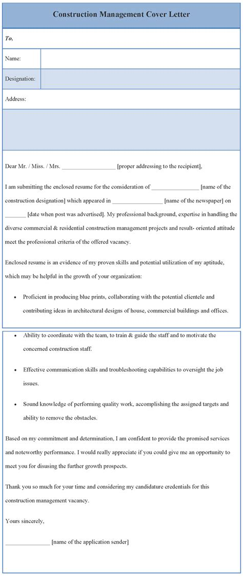 Construction Management Cover Letter Template Cover Letter Template For Construction Management Format Of Construction Management Cover