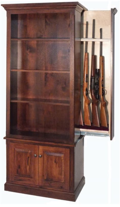 hidden gun cabinet bookcase amish winchester bookcase with hidden gun case from
