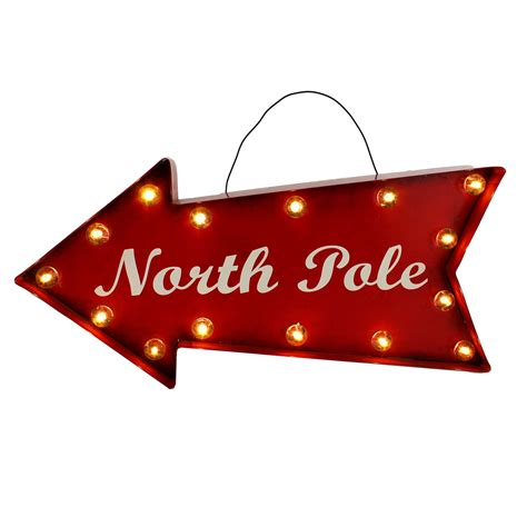 north pole light up sign hanging christmas wall plaque