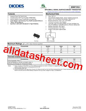 diodes inc bav99 7 f mmbt3904 7 f 데이터시트 pdf diodes incorporated