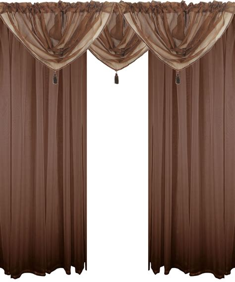 Brown Valance Curtains Chocolate Brown 5 Voile Set Rod Pocket Curtains Drapes Swags 4 Sizes Ebay