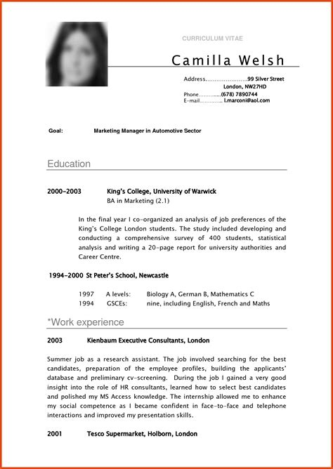 Good Resume Samples Pdf by Good Resume Pdf Moa Format