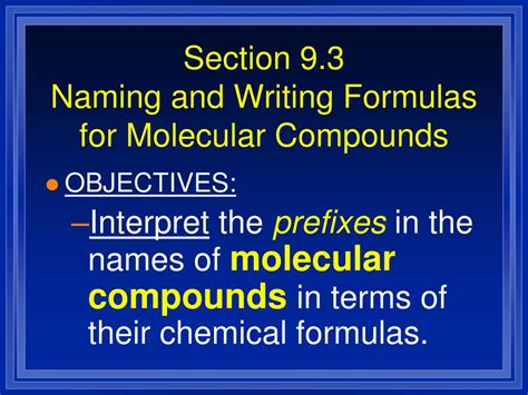 chemical formulas and chemical compounds section 2 ppt chapter 9 chemical names and formulas powerpoint