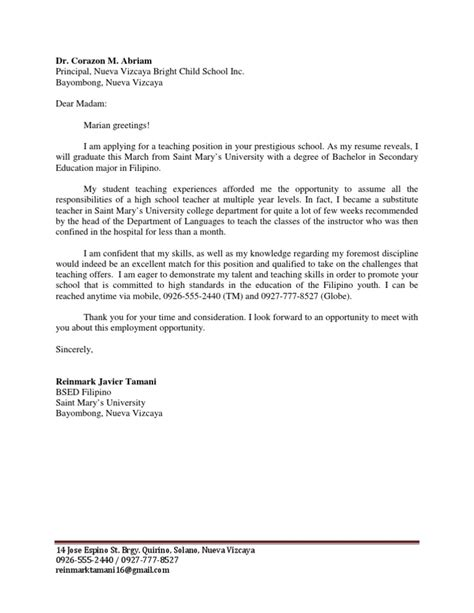 Application Letter Philippines Application Letter For Teaching Position In The Philippines Drodgereport666 Web Fc2