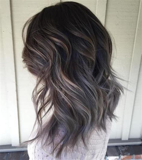 color highlights to blend gray into brown hair 40 ideas of gray and silver highlights on brown hair