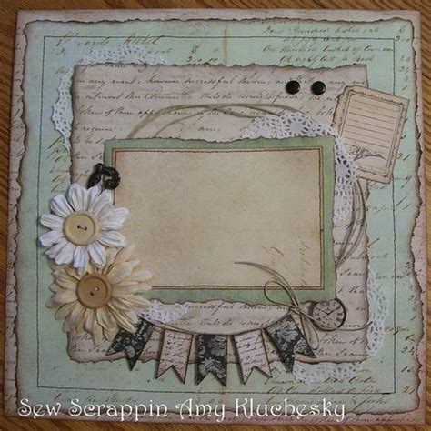 handmade scrapbook layout vintage prima and teal