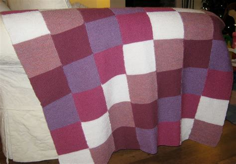 Knitted Patchwork Blanket - wonky witch needlecraft my in stitches knitted