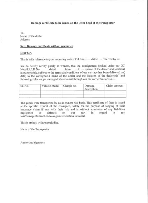 Insurance Claim Letter For Damaged Goods familiarisation course on marine claims