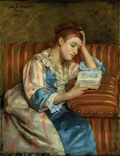 mrs couch mrs duffee seated on a striped sofa reading museum of