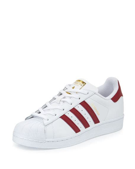 adidas superstar original fashion sneaker white burgundy neiman
