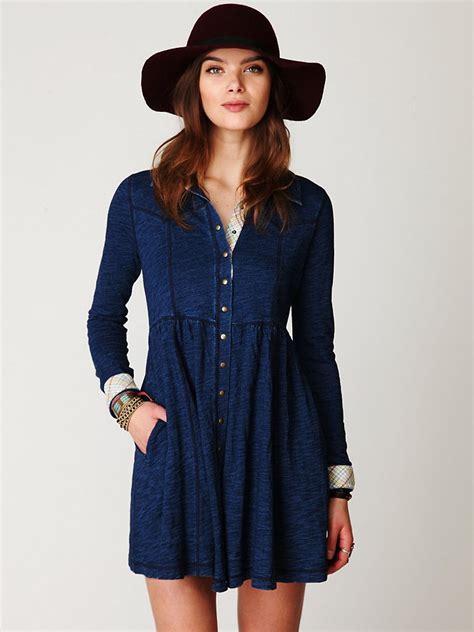 knit shirt dress lyst free denim knit shirt dress in blue