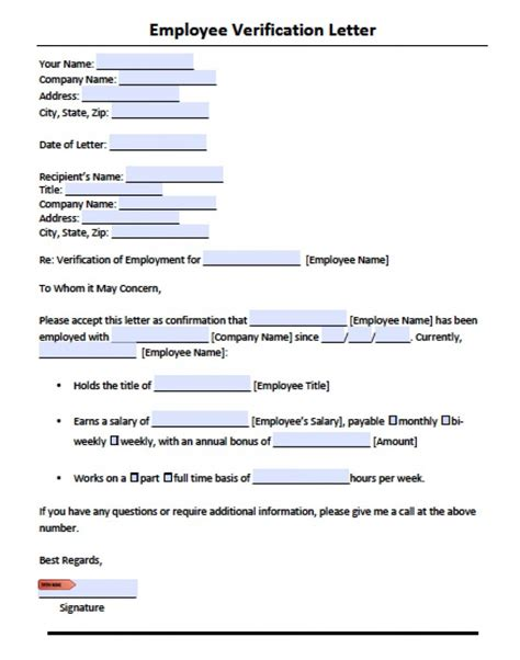 Employment Verification Letter Template Word employment verification letter template with