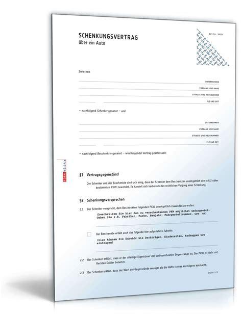Schenkungsvertrag Auto by Schenkungsvertrag 252 Ber Ein Auto Muster Zum Download