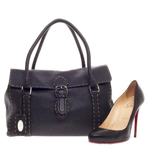 Fendi Selleria Classic Purse by Fendi Selleria Satchel Pebbled Leather Medium At 1stdibs