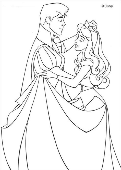 Princess Aurora And Prince Philip Dancing Waltz Coloring Princess And Prince Coloring Pages