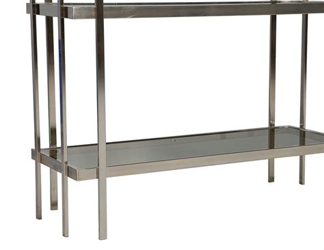 etagere nickel mid century modern brushed nickel etagere with smoked