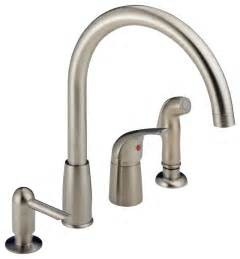 delta single handle widespread kitchen waterfall with soap dispenser p188900lf modern
