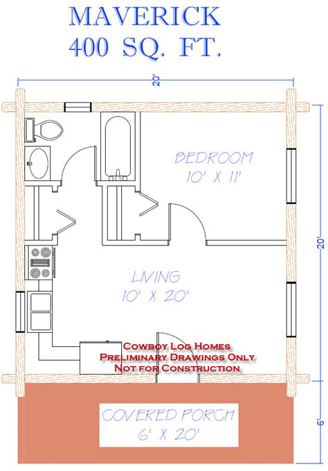 home design 400 square feet maverick plan 400 sq ft cowboy log homes