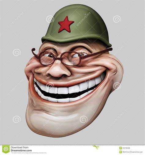 trollface in russian helmet internet troll 3d