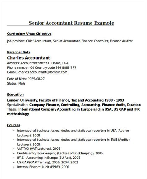 Accountant Resume Template by 21 Accountant Resume Templates Free Premium