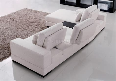 white fabric sofas white fabric modern sectional sofa w moving back tea table