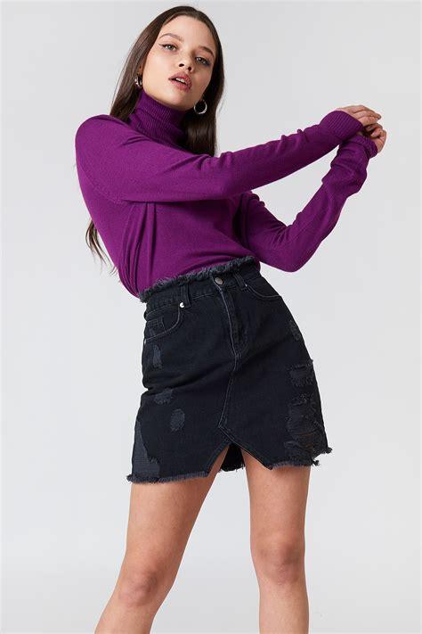 19900 Denim Slit Skirt ripped front slit denim skirt na kd
