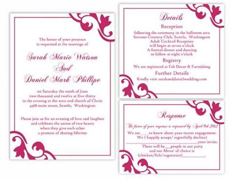 editable wedding invitation templates free diy wedding invitation template set editable word file
