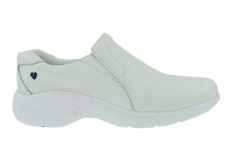 nurse mates dove slip  white nurses shoes