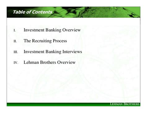 Mba 2 Years Investment Banking by Table Of Contents Investment Banking