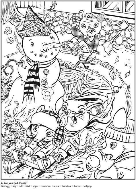 printable christmas hidden object pictures colouring in page sle from animal antics hidden