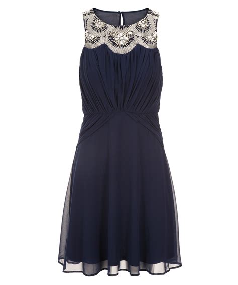 Beaded Sequin Neckline Dress Rickis