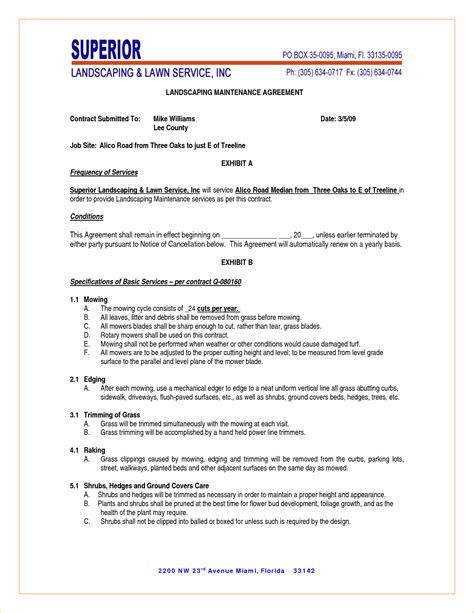 lawn care contract template landscape bid templates studio design gallery best