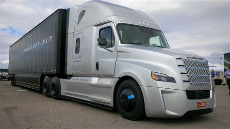of trucks driving the freightliner inspiration autonomous truck