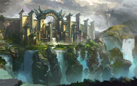 doodle a of light in the kingdom of darkness landscape city castle cliffs waterfalls birds