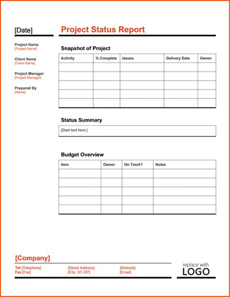 8 Project Status Template Bookletemplate Org Project Management Status Report Template